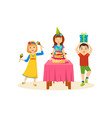 children having fun in a birthday party vector image vector image