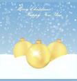 christmas background with gold balls and snow vector image vector image