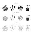 circus tent juggler maces clown magician hat vector image