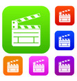clapperboard set collection vector image vector image