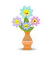 cute flowers in pots on white background vector image vector image