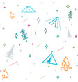 Cute seamless pattern camping in the woods