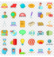 digital contract icons set cartoon style vector image vector image