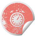 distressed circular peeling sticker symbol alarm vector image vector image
