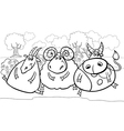farm animals cartoon coloring page vector image vector image