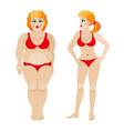 fat and slim woman before and after weight loss vector image vector image
