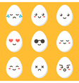 Flat design cartoon cute chicken egg characters vector image vector image