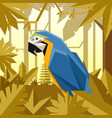 flat jungle background with blue-and yellow macaw vector image