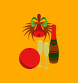 flat on background of champagne bell vector image vector image