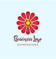 flowers business logo with typography and light vector image