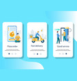 food delivery service mobile app onboarding vector image