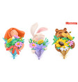 funny characters with bouquet flowers girl vector image