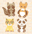 Funny cute raccoon panda fox cat on dot background vector image vector image