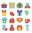 gifts boxes bags socks lineart cartoon doodle vector image