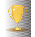 golden trophy cup icon on transparent vector image
