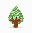 green human hand tree concept vector image vector image