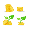 Growing investment coin money and green leaf flat vector image