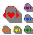 headphones with heart set of red orange yellow vector image
