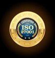 iso 27001 standard medal - information security ma vector image vector image