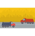 Landscape of two dump truck vector image vector image