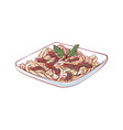noodles with meat isolated icon vector image vector image