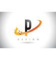 p letter logo with fire flames design and orange vector image vector image