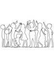 people from a continuous line vector image