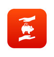 piggy bank and hands icon digital red vector image vector image