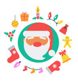 santa claus and icons vector image vector image