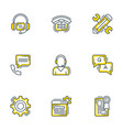 set 9 flat line business icons flat line vector image