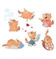 set cartoon cute cats vector image vector image
