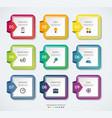 set of 9 square templates for infographics vector image vector image