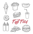 Set of various food fastfood vector image vector image