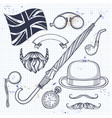sketch british elements vector image