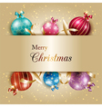 Sparkling Colorful Christmas Ball on Gold Color vector image vector image
