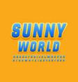 stylish logo sunny world handwritte font vector image