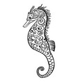 Stylized black and white icon of a seahorse