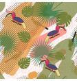 tropic exotic multicolor pattern with birdsand vector image vector image