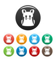 universal backpack icons set color vector image