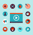 video marketing concept in flat style vector image vector image