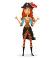 young confident pirate lady approving something vector image