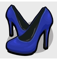 Blue evening shoes with high heel vector image