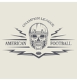 Football with a skull wearing a helmet vector image