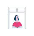 a woman or a brunette girl in a pink sweater is vector image vector image