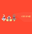 art space with tribal musician flat style banner vector image