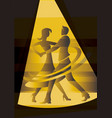 ballroom dancing couple in yellow spot light vector image vector image