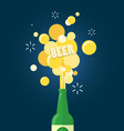 beer and text gushing from bottle vector image