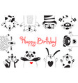birthday card with funny animals pig bear fox vector image vector image