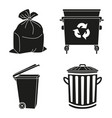 black and white garbage silhouette collection vector image