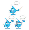 blue water drop characters collection - 5 vector image vector image